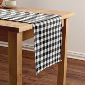 black white check pattern Country table runner