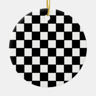 Black & White Checkerboard Custom Ceramic Ornament