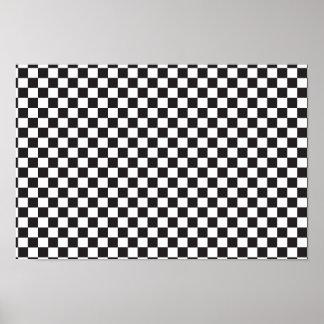 Black & White checkerboard pattern Poster