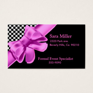 Black & White Checkerboard Pink Bow Set Business Card