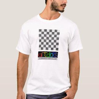 black/white checkered, artdots white t-shirt