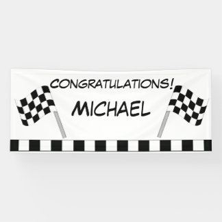 Black White Checkered Flag Race Congratulations Banner