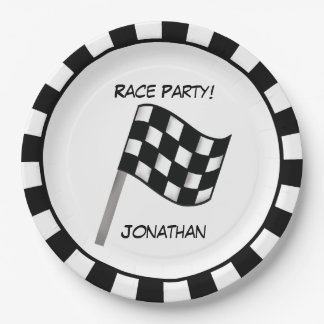 Black White Checkered Flag Race Party Name 9 Inch Paper Plate