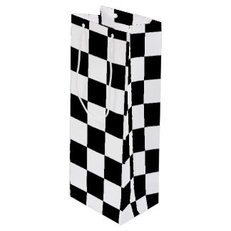 Black White Checkered Flags Pattern Wine Gift Bag