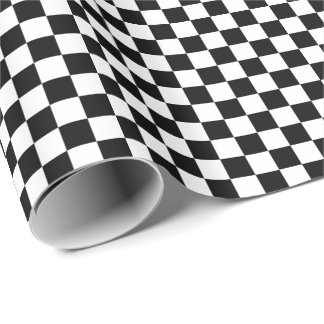 Black White Checkered Flags Pattern Wrapping Paper