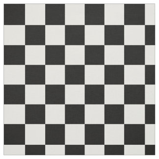 Black White Checkered Pattern Fabric