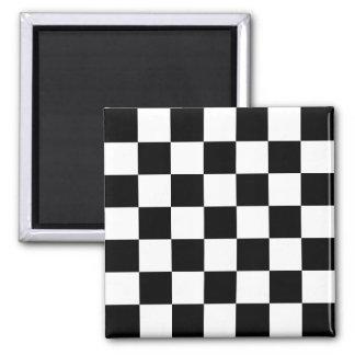 Black & White Checkered Pattern Magnet