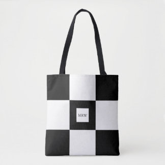 Black White Checkered Pattern Optional Monogram Tote Bag