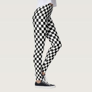Black White Checks Checkered Racing Flag Pattern Leggings