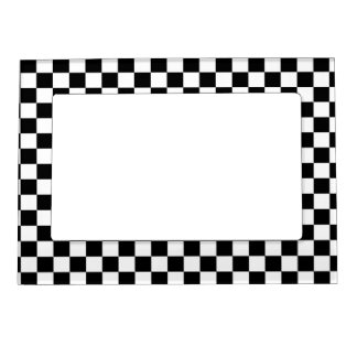 Black & White Chequerboard Background Frame Magnet