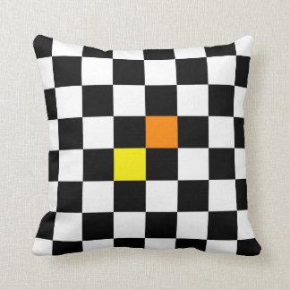 Black, White Chequerboard with Yellow Orange Cushion