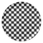Black White Chequered Checkers Chequered Pattern Plate