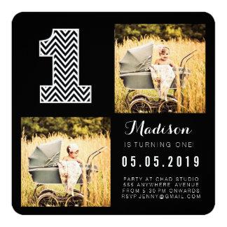 Black & White Chevron 1st Birthday Photo Cards 13 Cm X 13 Cm Square Invitation Card