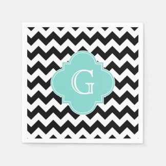 Black White Chevron Aqua Quatrefoil Monogram Disposable Napkin
