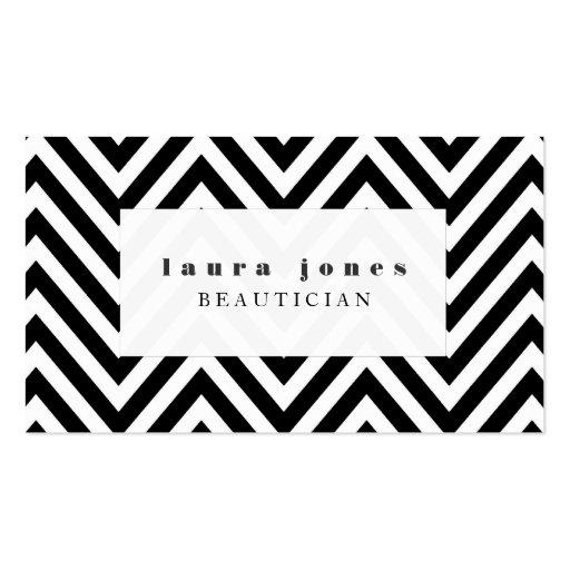 Black + White Chevron Beautician Fashion Template Business Card Template