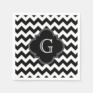 Black White Chevron Black Quatrefoil Monogram Paper Napkins