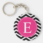 Black White Chevron Bright Pink Monogram Key Chains