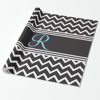 Black | White Chevron Gothic Zigzag Monogram Wrapping Paper