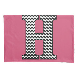 Black & White Chevron H Monogram Pillowcase