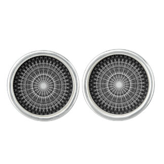 Black White Chevron Mandala Cufflinks