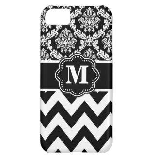 Black White Chevron Monogram iPhone 5C Case