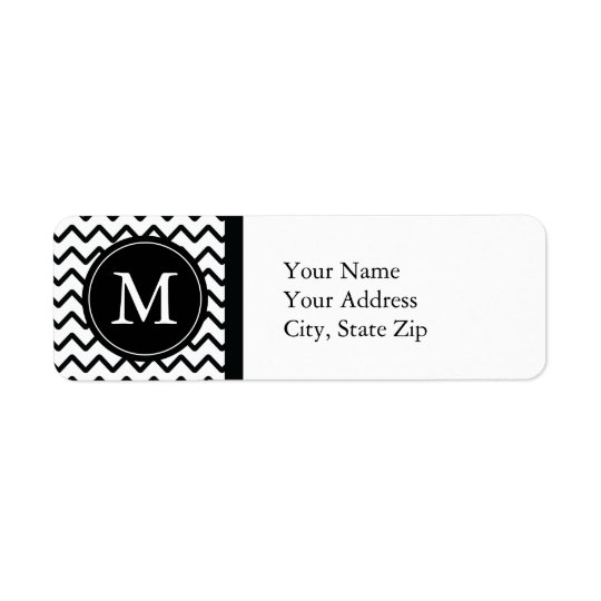 Black & White Chevron Monogram Return Address Label