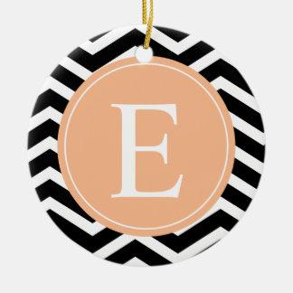 Black White Chevron Orange Monogram Round Ceramic Decoration