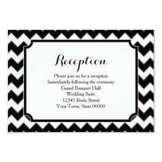 Black & White Chevron Pattern Reception Info Card 9 Cm X 13 Cm Invitation Card