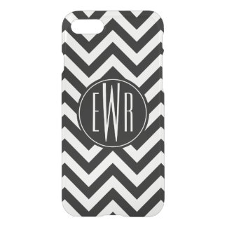 Black & White Chevron Pattern with Monogram iPhone 7 Case