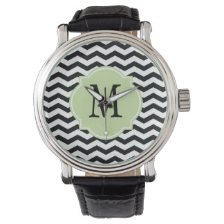Black & White Chevron Pattern Wristwatch