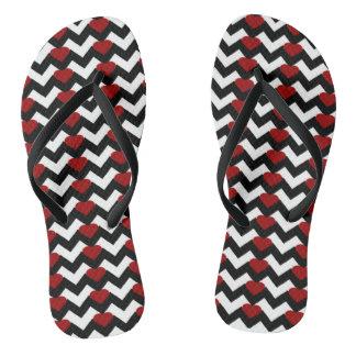 BLACK/WHITE CHEVRON RED HEART FLIP-FLOPS THONGS