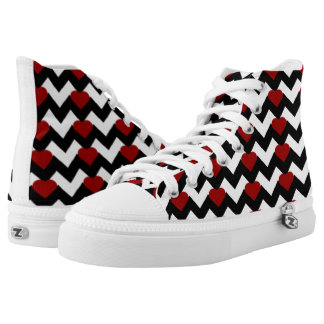 BLACK/WHITE CHEVRON RED HEART HIGH-TOP SNEAKERS