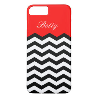 Black White Chevron Strawberry Red. Chic, Elegant iPhone 7 Plus Case