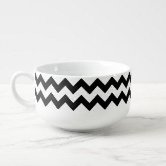 black & white chevron stripes soup mug