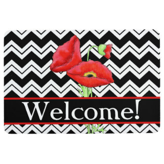 Black White Chevron Welcome Red Poppy Floor Mat