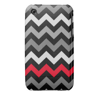 Black & White Chevron with Red Stripe Case-Mate iPhone 3 Case