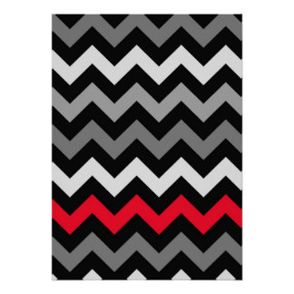 Black & White Chevron with Red Stripe Poster