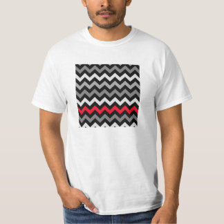 Black & White Chevron with Red Stripe T-shirts