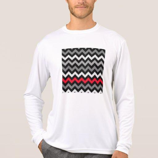 Black & White Chevron with Red Stripe Shirts