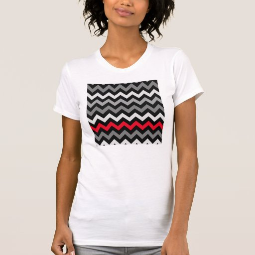 Black & White Chevron with Red Stripe Tee Shirt