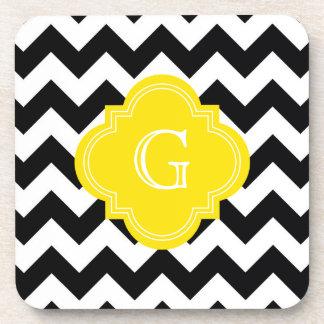 Black White Chevron Zig-Zag Yellow Monogram Coaster