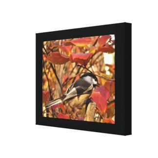 Black White Chickadee Bird with Autumn Leaves Canvas Print