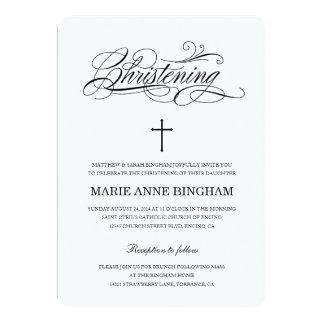 Black & White Christening Invitation