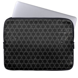 Black White Circles Dots Laptop Computer Sleeve