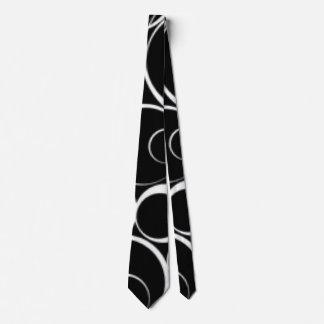 Black White Circles Pattern Print Design Tie