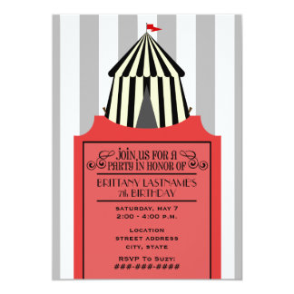 Black & White Circus Tent with Red Ticket Birthday 13 Cm X 18 Cm Invitation Card