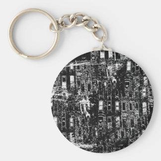 Black White City Building Window Collage Keychains
