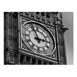 Black White Close up Big Ben Clock Tower Postcard