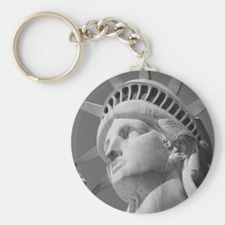 Black & White Close-up Statue of Liberty Basic Round Button Key Ring