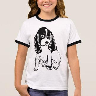 Black & White Cocker Spaniel Girl's Ringer T-Shirt